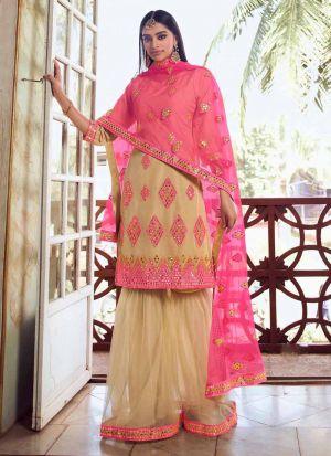 Wonderful Beige Mirror Work Salwar Suit