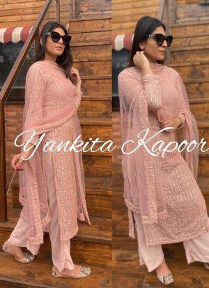 Yankita Kapoor Light Pink Foux Georgette Palazo Style Suit