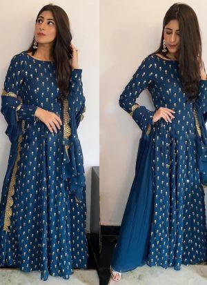 Yankita Kapoor Peacock Blue Top With Lehenga