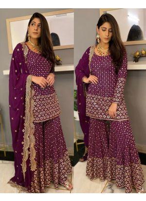 Yankita Kapoor Wedding Wear Wine Sharara Suit