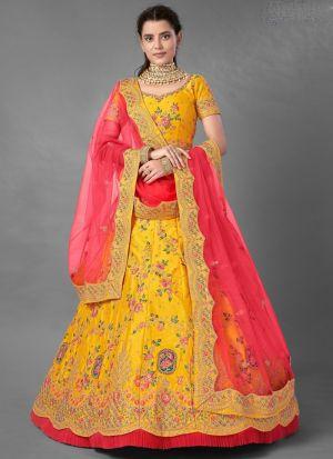 Yellow Art Silk Frill Work Lehenga Choli Set