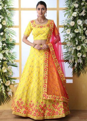 Yellow Art Silk Haldi Ceremony Wear Lehenga Choli
