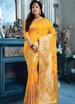 Yellow Banarasi Pure Silk Festive Wear Traditional Saree