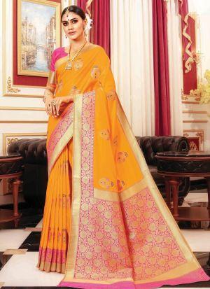 Yellow Banarasi Silk Indian Traditional Saree Collection