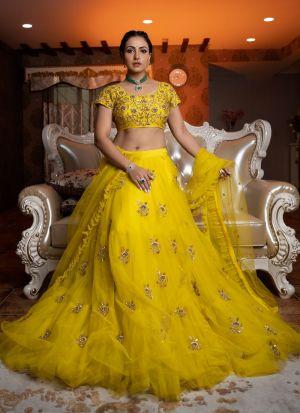 Yellow Butterfly Mono Net Layered Lehenga Choli