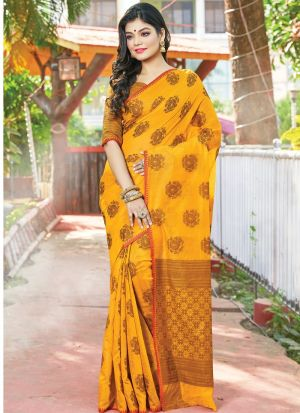 Yellow Color South Indian Cotton Handloom Designer Saree