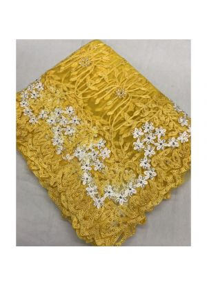 Yellow Embroidered Pearl Work Net Wedding Traditional Saree With Blouse