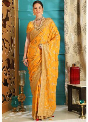 Yellow Embroidered Silk Designer Saree For Teej Festival
