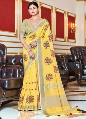 Yellow Embroidery Work Linen Saree