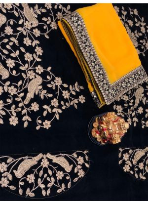 Yellow Georgette Designer Traditional Saree