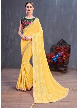 Yellow Gerogette Rubber Foil Party Wear Designer Saree