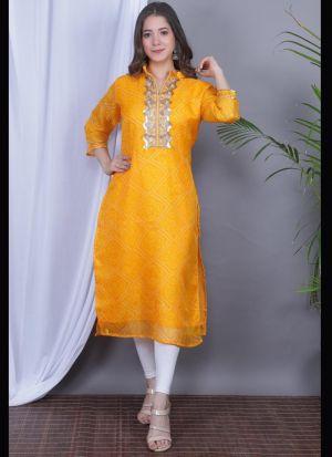 Yellow Gota Pati Kurti For Women