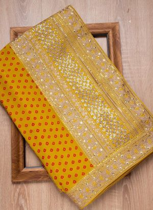 Yellow Haldi Special Rajwadi Silk Saree