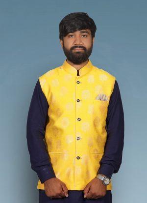 Yellow Jacquard Print Waist Coat For Men