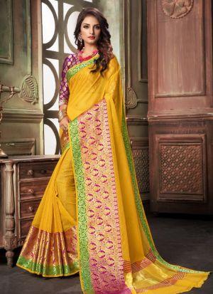 Yellow Kota Doria Checks Fancy Designer Traditional Saree