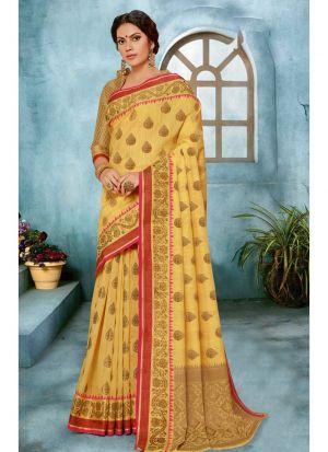 Yellow Linen Silk Designer Traditional Saree Collection