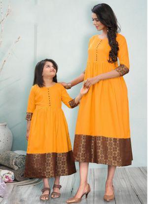 Yellow Mother Daughter Plain Kurti