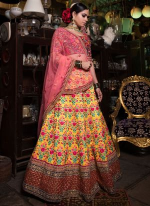 Yellow Mulberry Silk Designer Lehenga Choli For Sangeet Ceremony