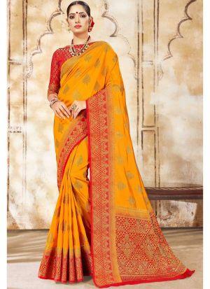 Yellow Nylon Silk Designer Traditional Saree Collection