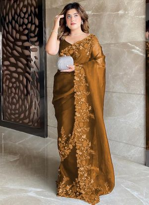 Yellow Ochre Premium Organza Silk Saree