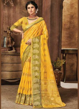 Yellow Organza Weaving Work Saree