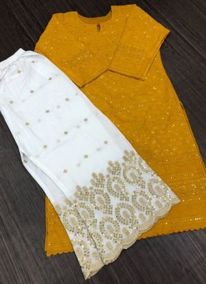 Yellow Pc Cotton Top With Palazzo