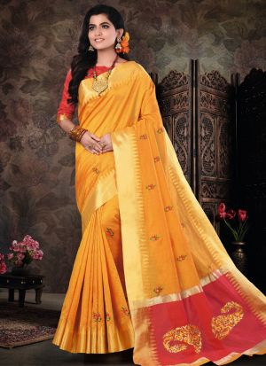 Yellow Pure Crystal Silk Most Beautiful Saree Collection