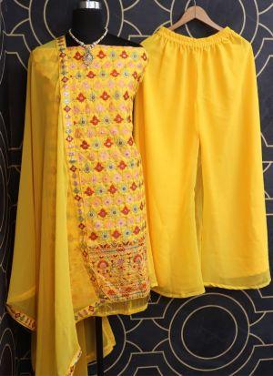 Yellow Raw Silk Thread Embroidered Salwar Kameez