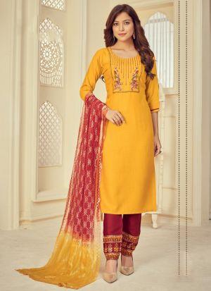 Yellow Rayon Printed Salwar Suit