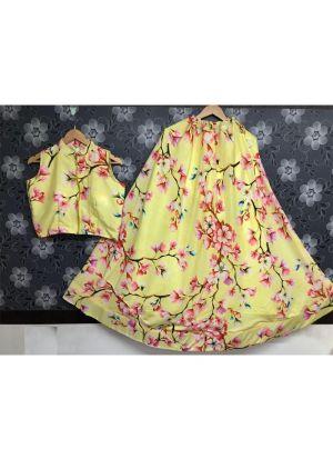 Yellow Satin Crop Top With Skirt Set