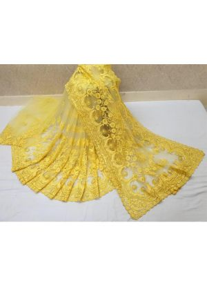 Yellow Soft Net Festive Wear Traditional Saree With Heavy Embroidery Stone Work