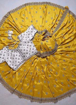 Yellow Vichitra Silk haldi wear saree