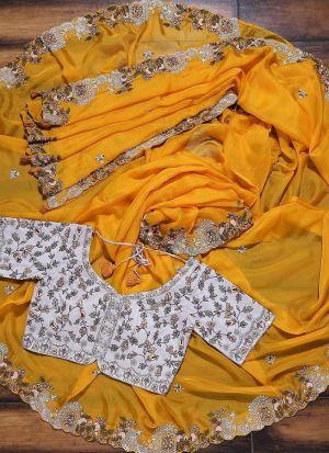 Yellow Vichitra Silk Thread Work Saree