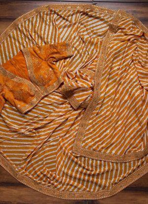 Yellow Zari Work Mushroom Silk Leheriya Saree