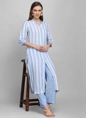 3-4 Sleeves Sky Blue Printed Pant Style Kurti