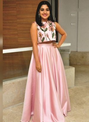 Baby Pink Satin Plain Crop Top Lehenga Choli
