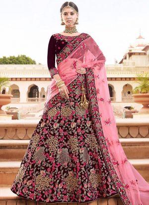 9000 Velvet Maroon Bridal Lehenga Choli For Wedding