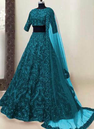 Admirable Turquoise Heavy Taffeta Silk Hand Work Lehenga Choli