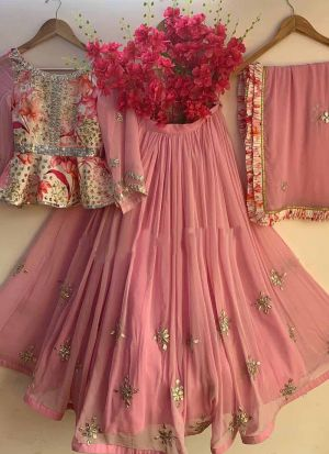 Adorable Pink Embroidered Georgette Lehenga Choli