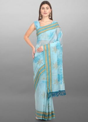 Adorable Sky Blue Cotton Silk Saree