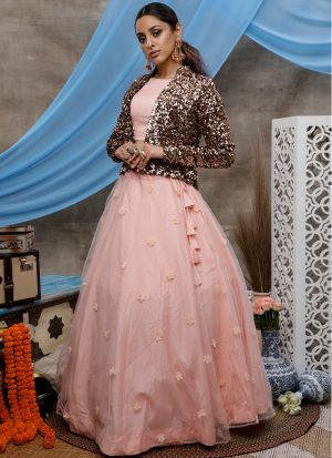 Adorable Velvet Flower Pasting Peach Lehenga Choli With Fancy Koty