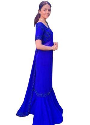 Alia Bhatt Blue Georgette Zari Embroidery Designer Saree