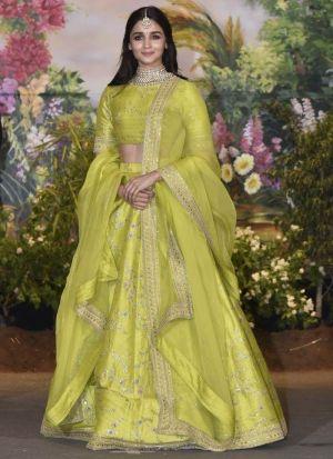 Alia Bhatt Pure Silk Embroidered Lime Green Bollywood Lehenga Choli