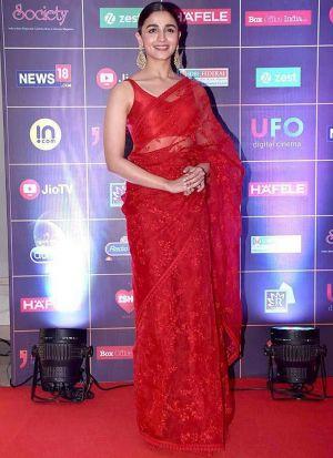 Alia Bhatt Red Naylon Mono Net Fancy Thread Work Net Saree