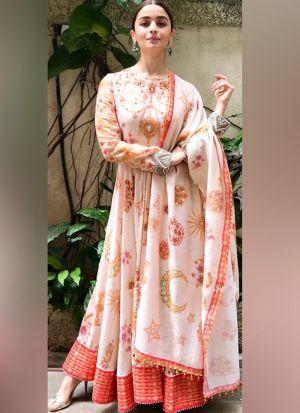 Alia Bhatt Style Latest Peach Salwar Suit With Duppatta