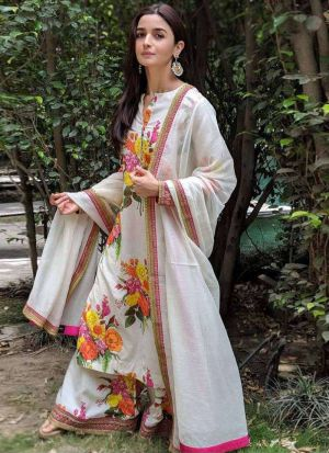 Alia Bhatt Style White Digital Printed Salwar Suit