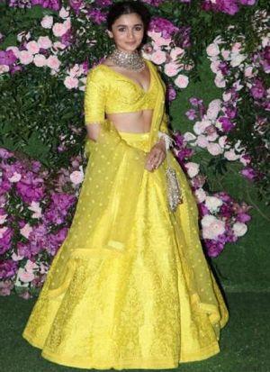 Alia Bhatt Yellow Taffeta Silk Embroidered Lehenga Choli With Net Dupatta