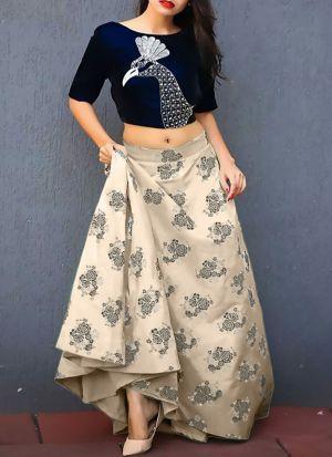 Amazing Cream Printed Jacquard Designer Lehenga Choli