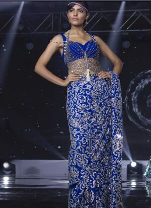 Amazing Fashion Chain Stitch Georgette Bemberg Blue Saree