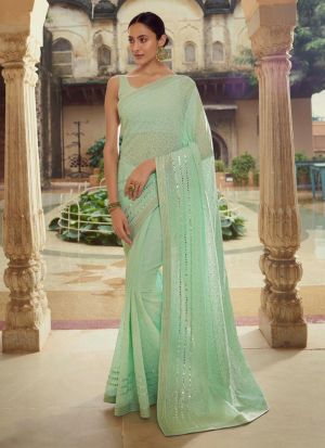 Amazing Mint Green Sequence Work Saree